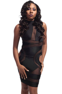 Chicloth Black Geometric Mesh Cut-out Bodycon Dress