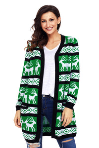 Chicloth Black Green Reindeer Geometric Christmas Cardigan