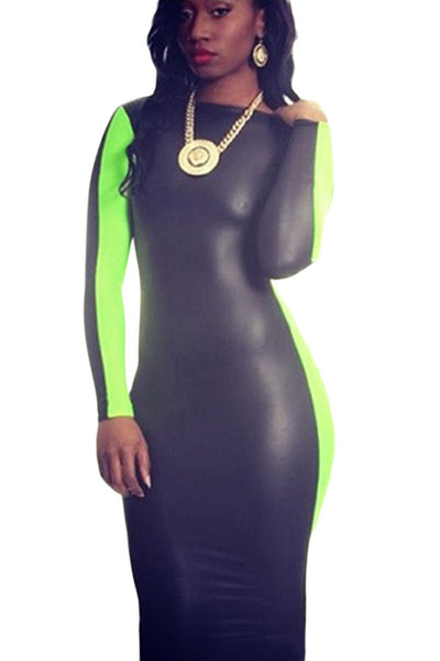 Black Green Scoop Back Leatherette Bodycon Midi Dress