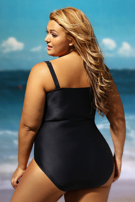 Chicloth Black Grey Color Block Ruched Plus One Piece Swimsuit-Plus size swimwear-Chicloth
