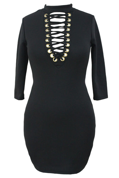 Chicloth Black Grommet Lace Up Front Sleeved Bodycon Dress