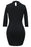 Chicloth Black Grommet Lace Up Front Sleeved Bodycon Dress-Chicloth