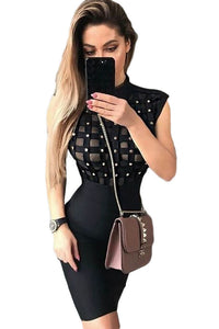 Chicloth Black High Neck Sleeveless Beaded See-through Bandage Dress