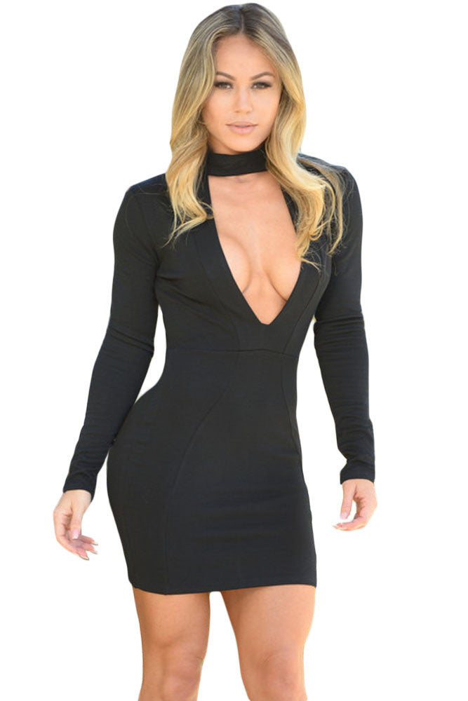 Black High Neck V Plunge Bodycon Mini Dress-sale-Chicloth
