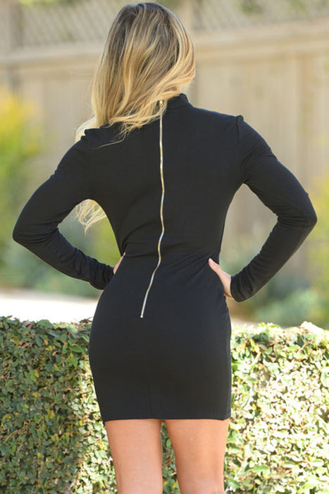 Black One Shoulder Bodycon Knee Length Dress-sale-Chicloth