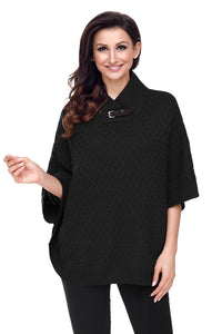 Chicloth Black High Neck Waffle Knit Poncho
