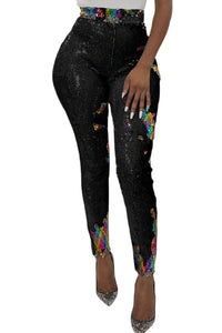 Z| Chicloth Black High Waist Retro Sequin Leggings-Leggings-Chicloth
