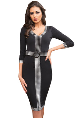 Chicloth Black Houndstooth Detail Bodycon Midi Dress