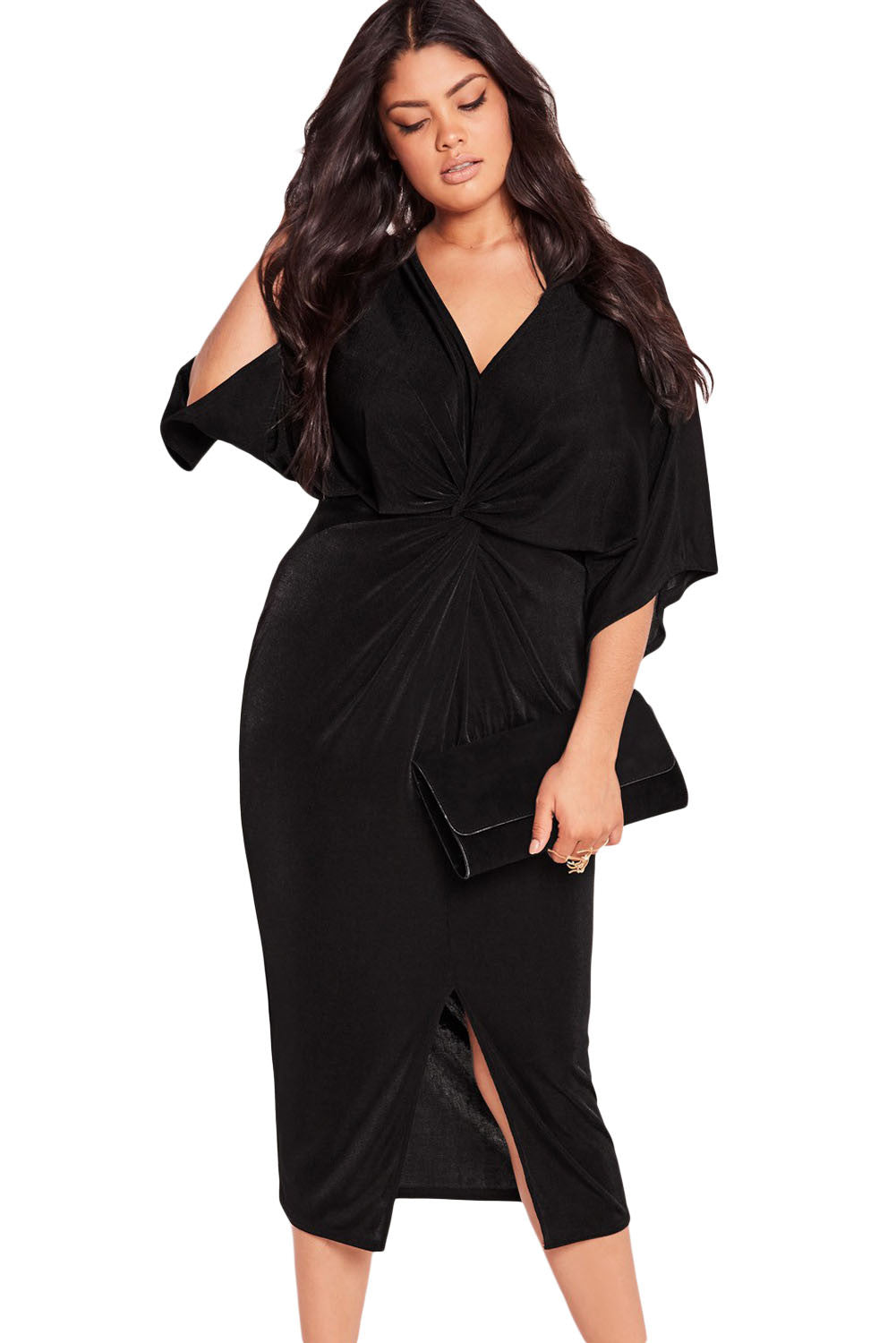 Chicloth Black Kimono Sleeve Knotted Pleated Front Plus Size Dress