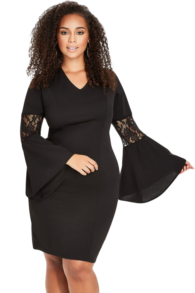 Z Chicloth Black Lace Bell Sleeve Sheath Plus Size Dress