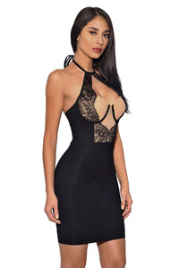 B| Chicloth Black Lace Detail Halter Party Bandage Dress