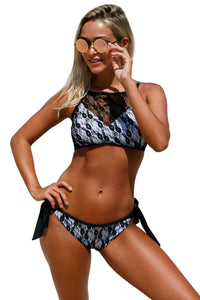 Chicloth Black Lace High Neck Tankini