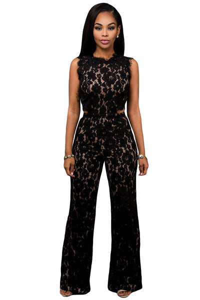 Chicloth Black Lace Nude Illusion Back Cutout Jumpsuit