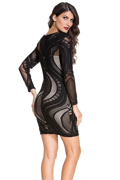 Chicloth Black Lace Nude Illusion Long Sleeves Bodycon Dress