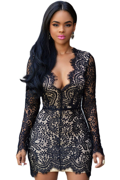 Chicloth Black Lace Nude Mini Dress