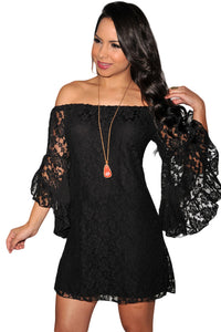 Chicloth Black Lace Off-The-Shoulder Mini Dress