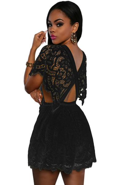 Chicloth Black Lace Sheer Top Romper