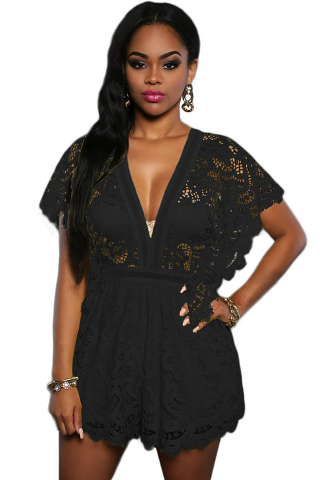 Chicloth Black Lace Sheer Top Romper-Jumpsuits & Rompers-Chicloth