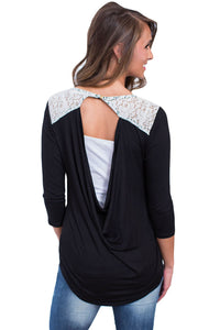 Chicloth Black Lace Shoulder Low Cut Back Top