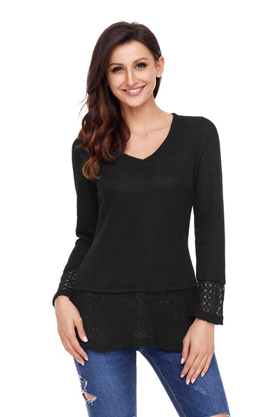 Chicloth Black Lace Sleeve and Hem Thermal Knit Sweater