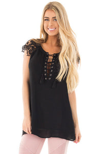 Chicloth Black Lace Sleeves Lace up Tunic Top
