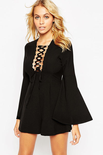 Chicloth Black Lace Up Playsuit with Gold Rings Detail