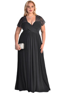 Chicloth Black Lace Yoke Ruched Twist High Waist Plus Size Gown