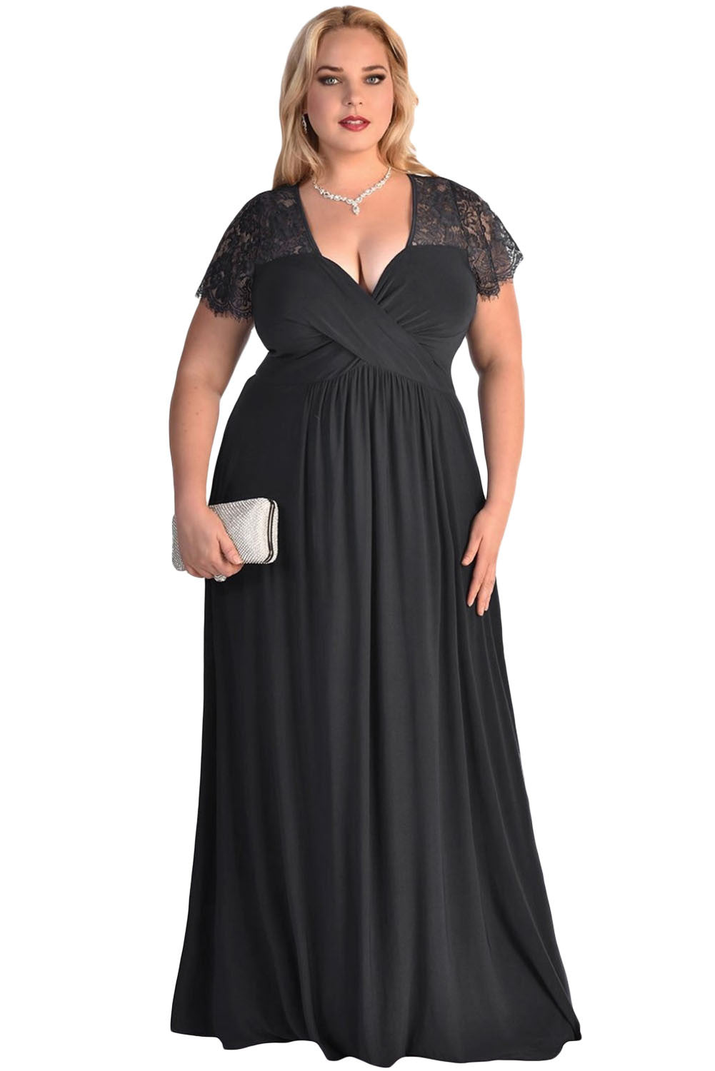 A  Chicloth Black Lace Yoke Ruched Twist High Waist Plus Size Gown