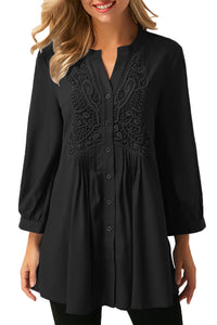 Chicloth Black Lace and Pleated Detail Button up Blouse