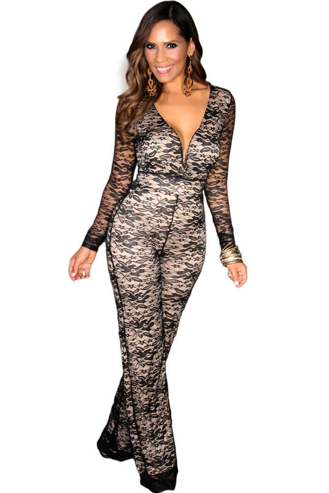 Chicloth Black Lace on Beige V-neck Wide Leg Jumpsuit