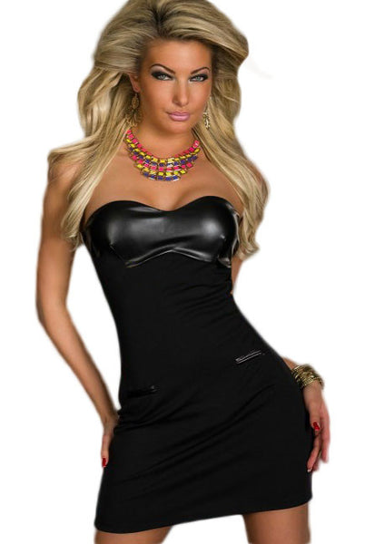 Chicloth Black Leather Bandeau Bodycon Dress