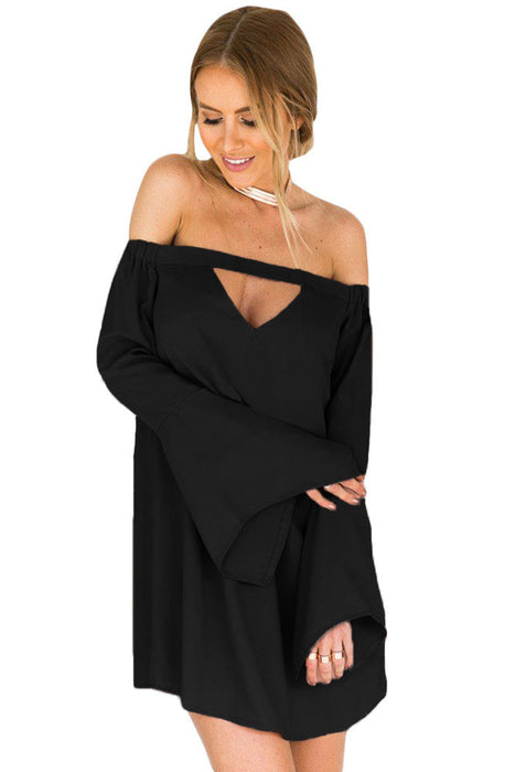 Black Long Bell Sleeves Off The Shoulder Cutout Swing Dress-sale-Chicloth