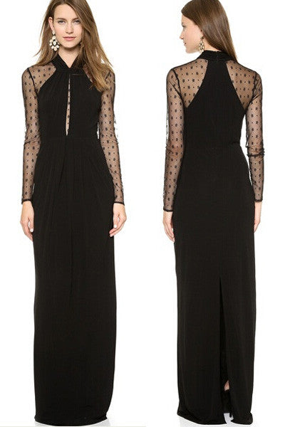 Chicloth Black Long Draped Maxi Dress with Mesh Sleeves
