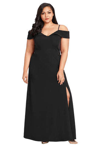 A| Chicloth Black Long Off The Shoulder Plus Size Gown