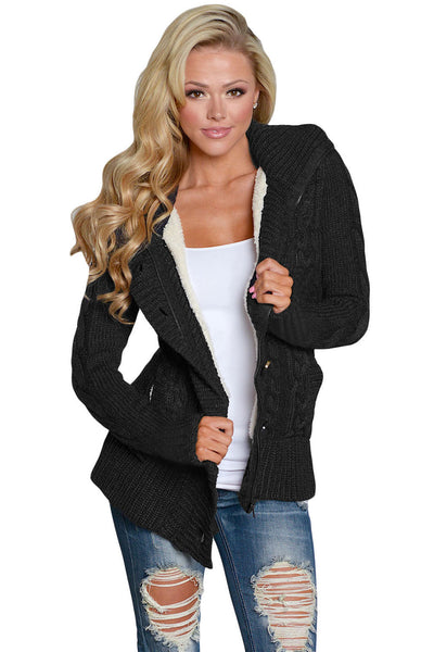 A| Chicloth Black Long Sleeve Button-Up Hooded Cardigans-Sweaters-Chicloth