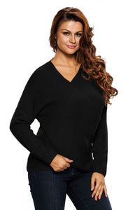 Chicloth Black Long Sleeve Chunky Cross Wrap V Neck Tunic Pullover Sweater