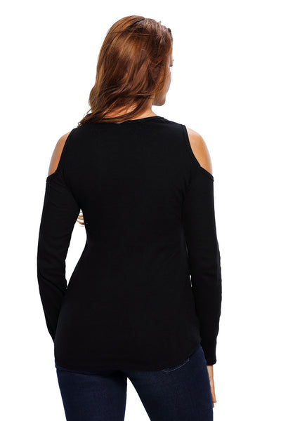 Chicloth Black Long Sleeve Cut-out Shoulder Ribbed Top
