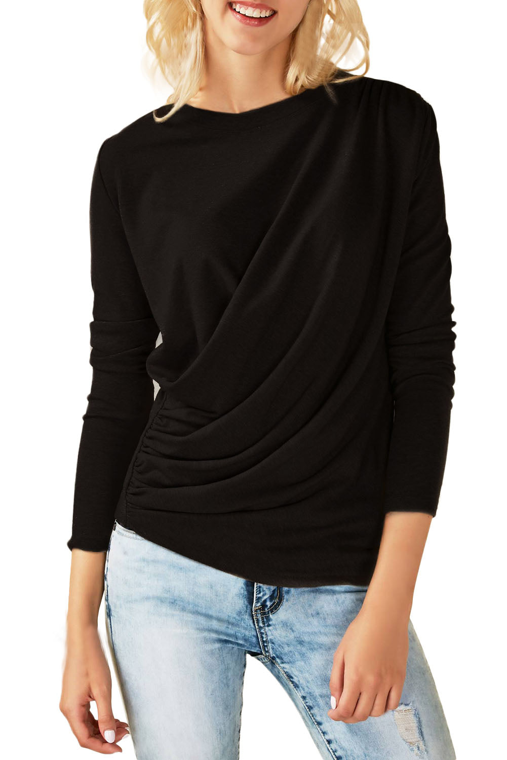Chicloth Black Long Sleeve Draped Round Neck T Shirt