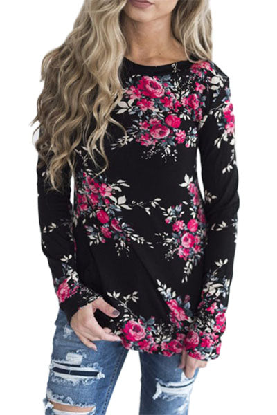 Chicloth Black Long Sleeve Floral Autumn Womens Top