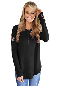 Chicloth Black Long Sleeve Floral Top