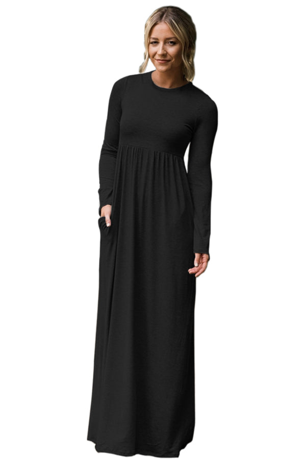 Chicloth Black Long Sleeve High Waist Maxi Jersey Dress