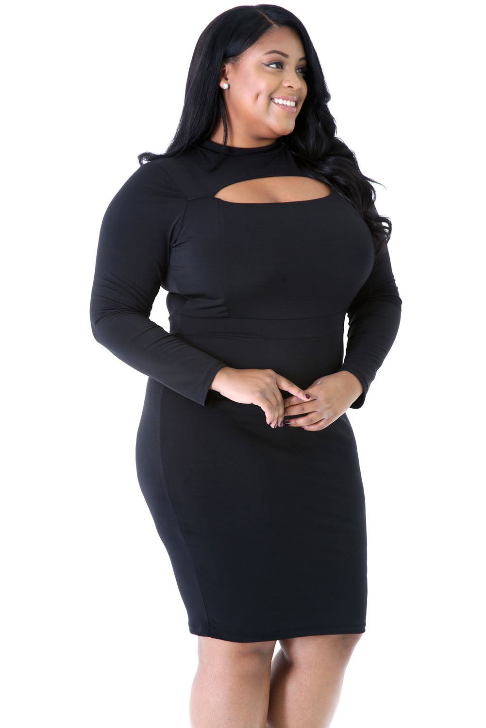 Chicloth Black Long Sleeve Keyhole Bodycon Plus Size Dress