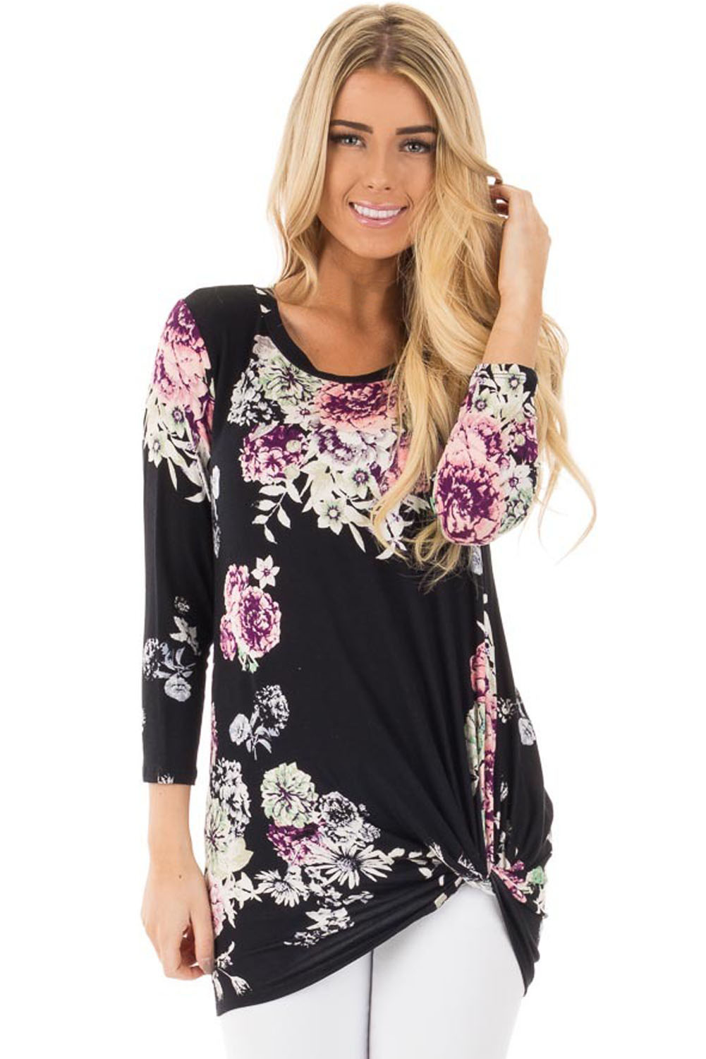Chicloth Black Long Sleeve Knotted Floral Print Blouse