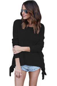 Chicloth Black Long Sleeve Lace up Sided Sweater