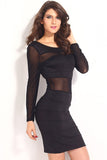 Chicloth Black Mesh Inserts Long Sleeves Bodycon Dress