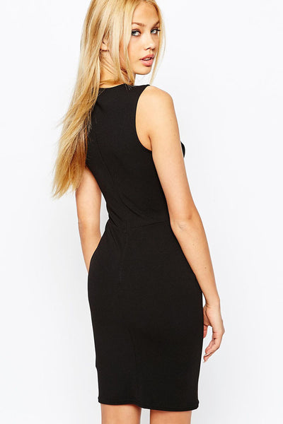 Chicloth Black Mesh PU Insert Sleeveless Bodycon Dress