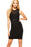 Chicloth Black Mesh PU Insert Sleeveless Bodycon Dress-Chicloth