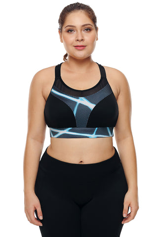Z|Chicloth Black Mesh and Print Patchwork Yoga Bra