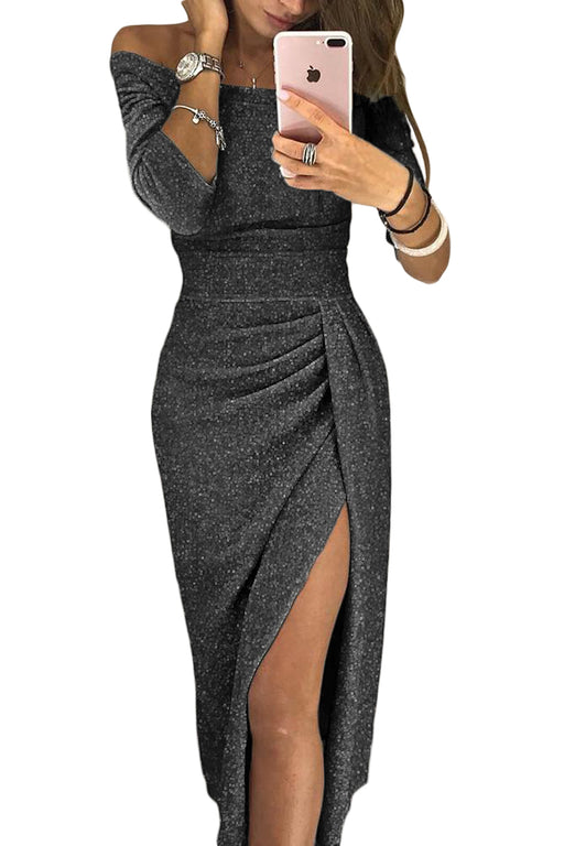 A| Chicloth Black Metallic Glitter Off Shoulder Formal Dress-Evening Dresses-Chicloth