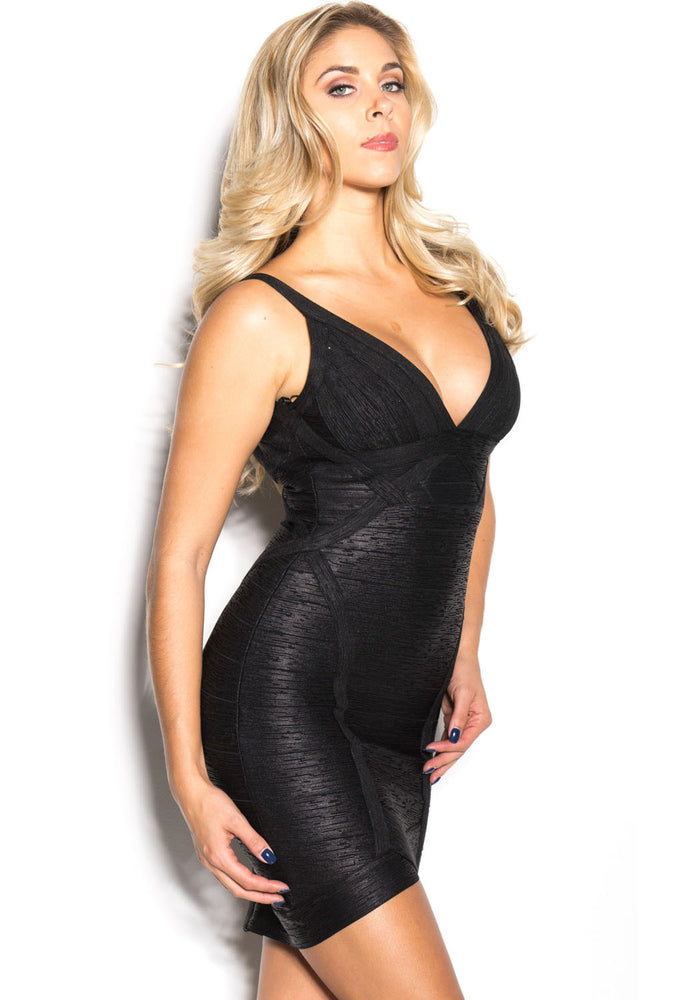 Chicloth Black Metallic V-neck Backless Bodycon Cocktail Party Bandage Dress-Bandage Dresses-Chicloth